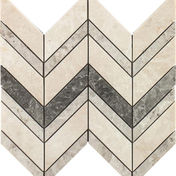 Elegant Mix Honed Chevron Marble Mosaic