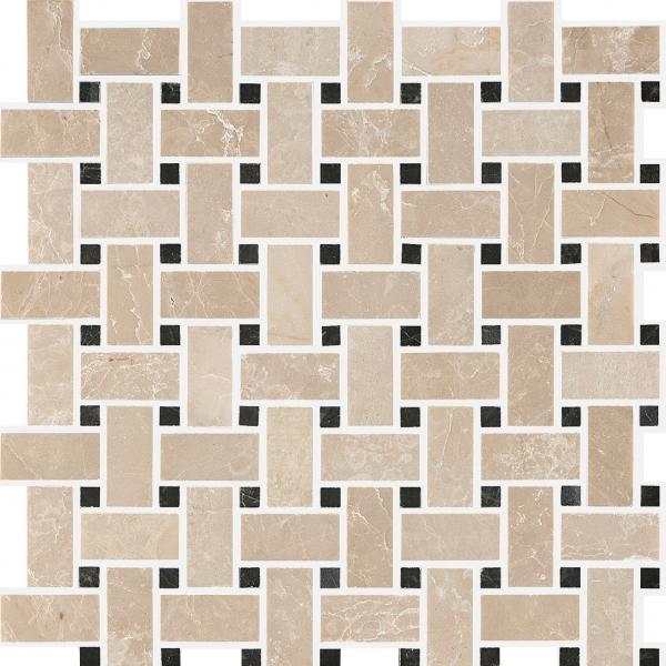 Botticino - St Laurent Polished Basketweave Marble Mosaic