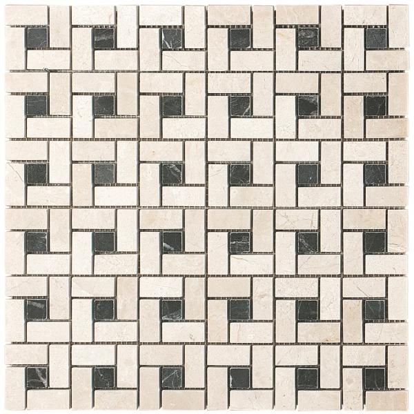 Crema Marfil - St Laurent Polished Target Marble Mosaic