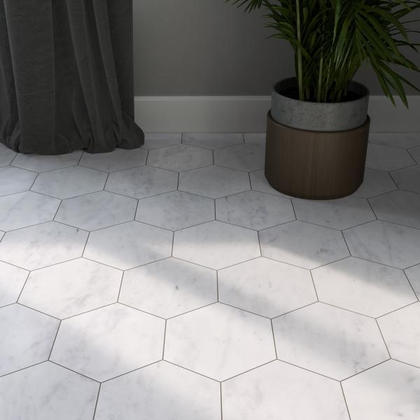 Carrara White Polished Hexagon Marble
