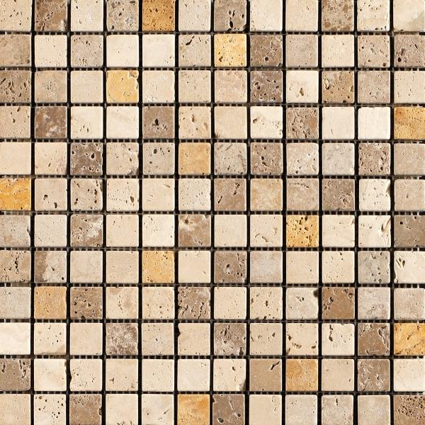 Classico - Giallo - Noce Tumbled Travertine Mosaic