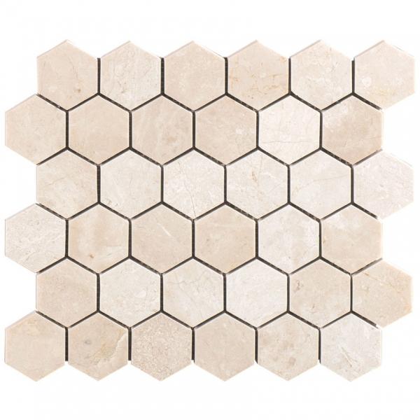 Crema Marfil Polished Hexagon Marble Mosaic