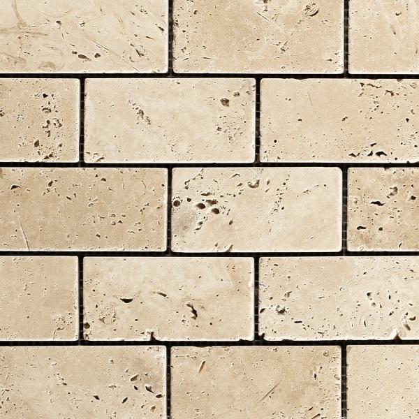 Lydia Classico Tumbled Travertine Brick Mosaic
