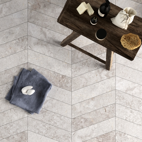 Silver Light Chevron Polished Marble