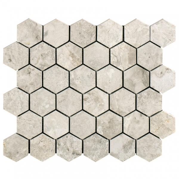 Silver Light Hexagon Honed Marble Mosaic
