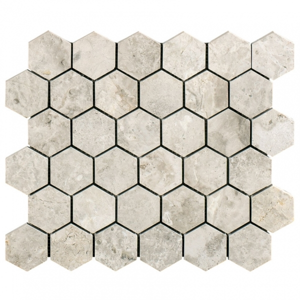 Silver Light Hexagon Polished Marble Mosaic