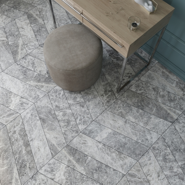 Silver Moon Chevron Polished Marble