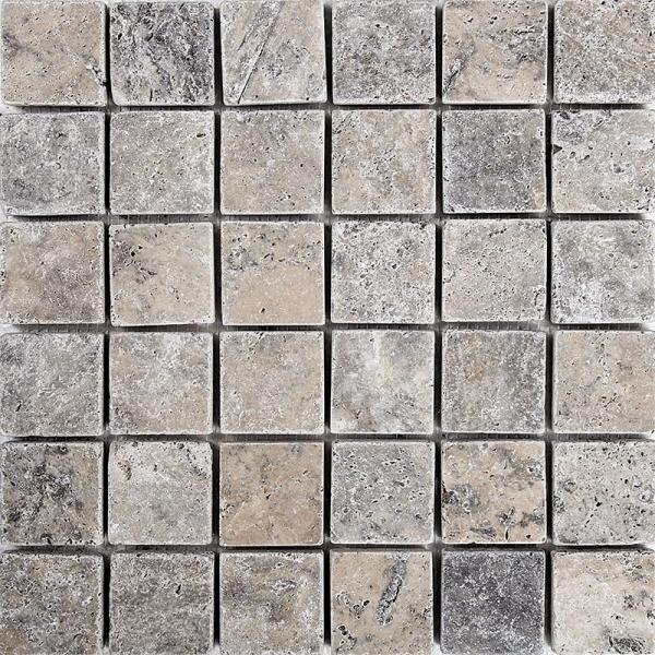 Silver Tumbled Travertine Mosaic