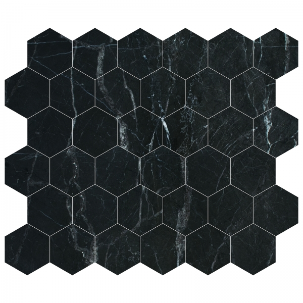St Laurent Polished Hexagon Marble Mosaic
